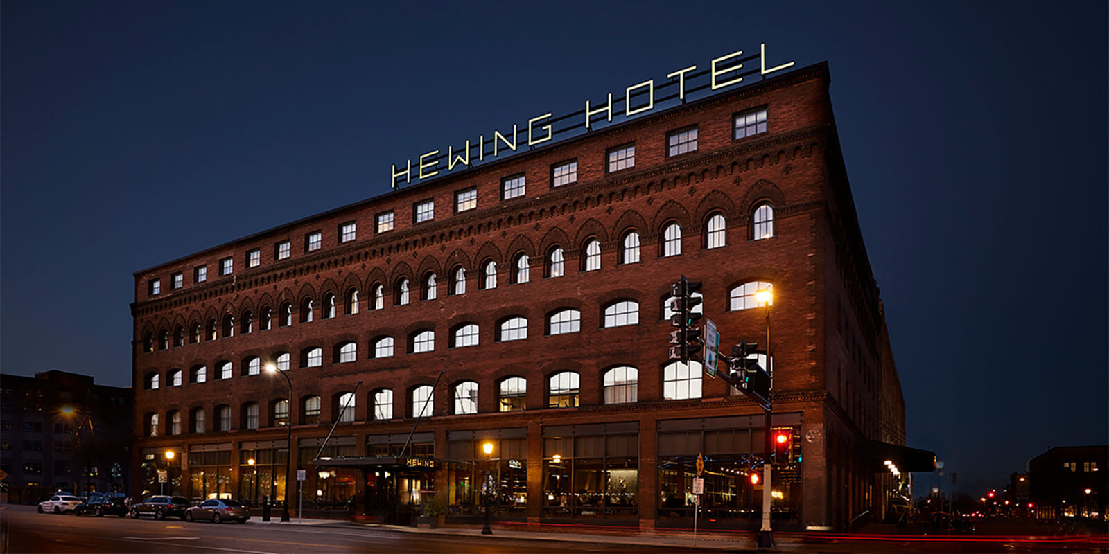 hewing hotel exterior night sign