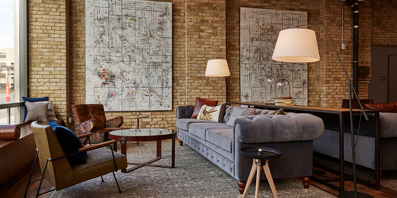 hewing hotel painting couch interior